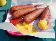 Jiffy Corn Dogs - 2 packages Jiffy Corn Muffin Mix, 2 eggs, 2/3 cup milk, 6-8 hot dogs, Popsicle sticks, oil for deep frying. All recipes out there, w/flour, taste more like tempura!                                                                                                                                                                                 More