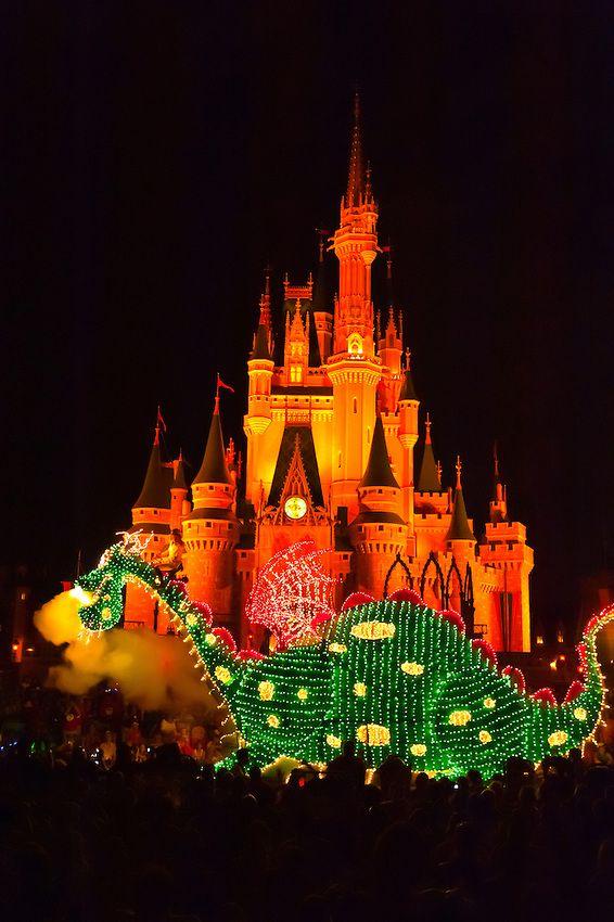 Pete's Dragon (and Elliott), Disney's Electrical Parade (with Cinderella Castle in back), Magic Kingdom, Walt Disney World, Orlando, Florida USA - photo by Blaine Harrington