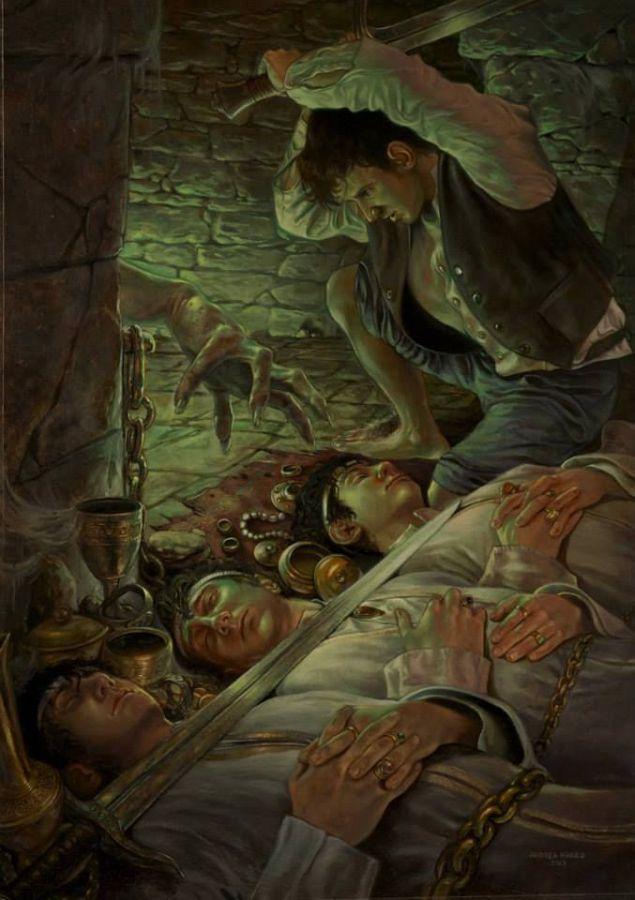Frodo en el túmulo, según Andrea Piparo