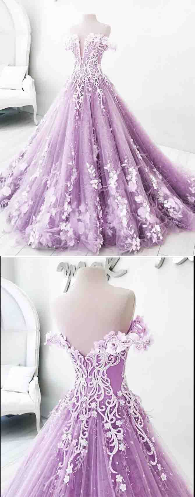 Ball Gown Prom Dresses Off The Shoulder Prom Dress Lilac Prom Dresses Appliques Prom Dress Floor Length Ball Gown Evening Dress Ds489 Purple Prom Dress Lilac Prom Dresses Ball Gowns [ 1706 x 670 Pixel ]