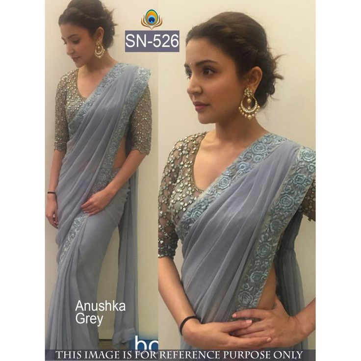 Anuska Grey Color 60 Gm Georgette Bollywood & Wedding Saree Shop this amazing style Salwar Suit for just Rs.1390/- only on www.vendorvilla.com Cash on Delivery, Easy Returns, Lowest Price