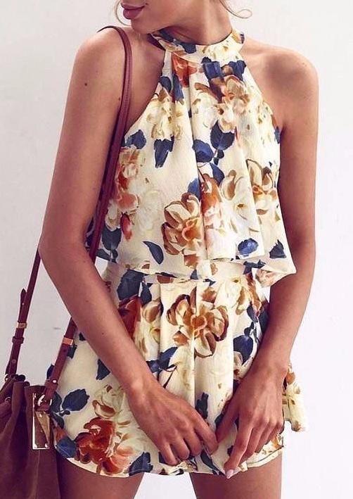 #AdoreWe Fairy Season Clothing~~Shirts & Tops - Halter - Halter Floral Crop Top and Shorts Set - AdoreWe.com