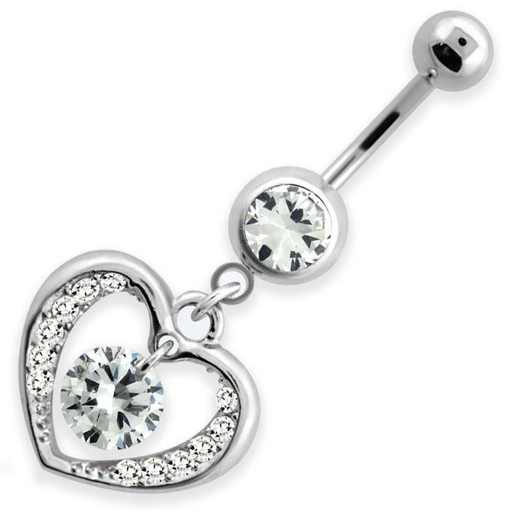 Fehér szív köldök piercing