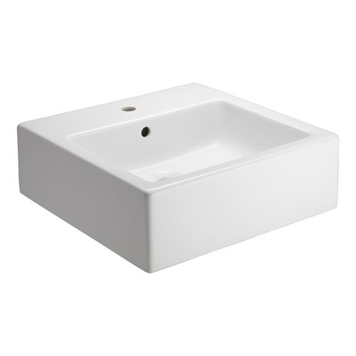 Patricia White One-Hole Square Vessel Sink