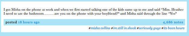 But the lucky few who allegedly got to talk/text him got some very high quality convo: | So Yesterday Misha Collins Gave Out His Number On Twitter