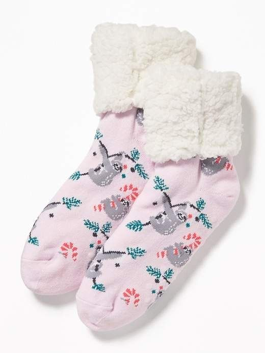 e0730cfdf158b Old Navy Patterned Sherpa Slipper Socks for Women
