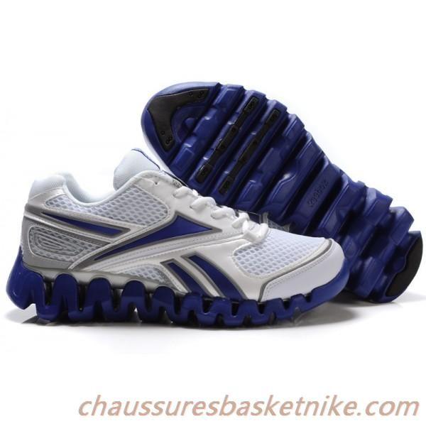 Reebok Zig chaussures hommes de carburant de course en blanc / bleu