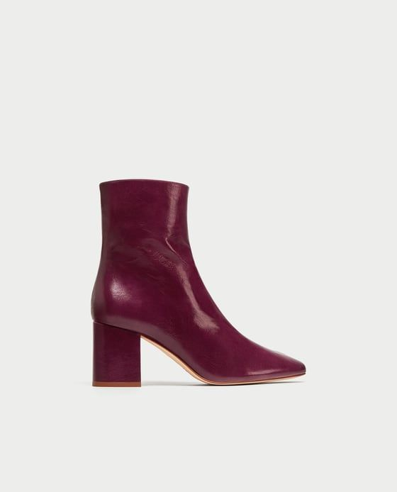 Aubergine LEATHER ANKLE BOOTS WITH BLOCK HEEL from Zara