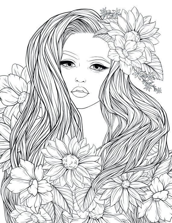 Bursting Blossoms Flower Coloring Page Printable Flower Coloring Pages Flower Coloring Sheets Flower Coloring Pages