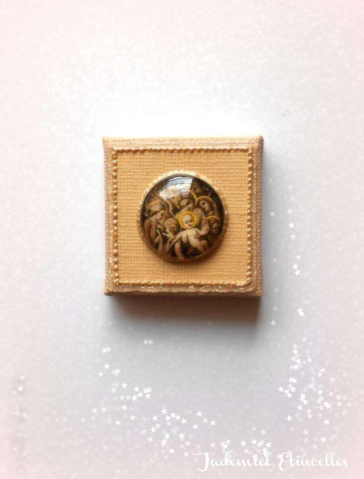 """* Noël * Toile miniature décorative série """" Sainte Nuit ... """" n°74 : Accessoires de maison par jademiel-etincelles"""