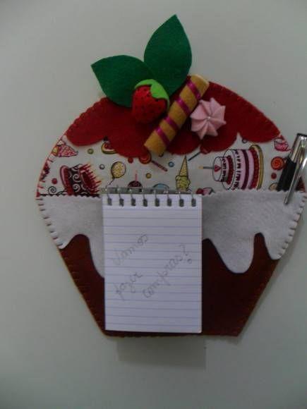 Porta Recados E ímã De Geladeira Cupcake Ateliê Criative Felt By cakepins.com