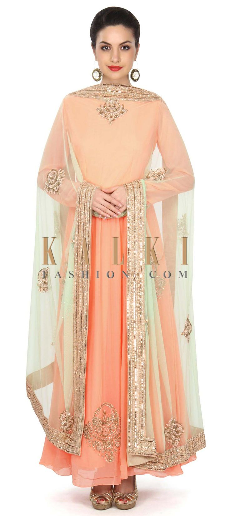 Peach anarkali suit adorn in kundan embroidered butti only on Kalki