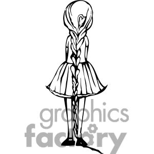 Clip art of view of the back of a girl standing. | 384730