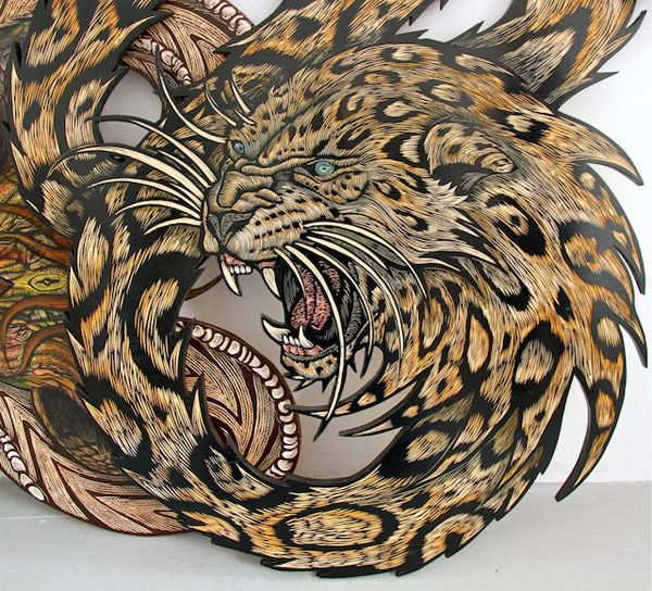 Cool Painted Wood Carvings by Dennis McNett - Explore like a Gipsy, Study like a Ninja