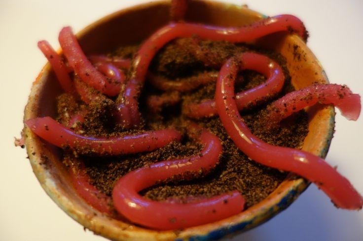 Regenwürmer aus Götterspeise in Erde aus Schokokeksen