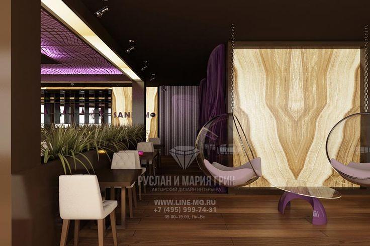 Диванная зона в ресторане  http://www.line-mg.ru/portfolio/dizayn-restorana-v-kurkino