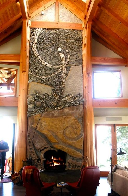 Carved Natural Stone And Mosaic Fireplace. Design