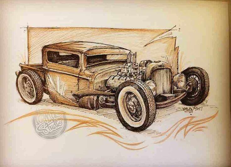 sepia-hot-rod-sketch