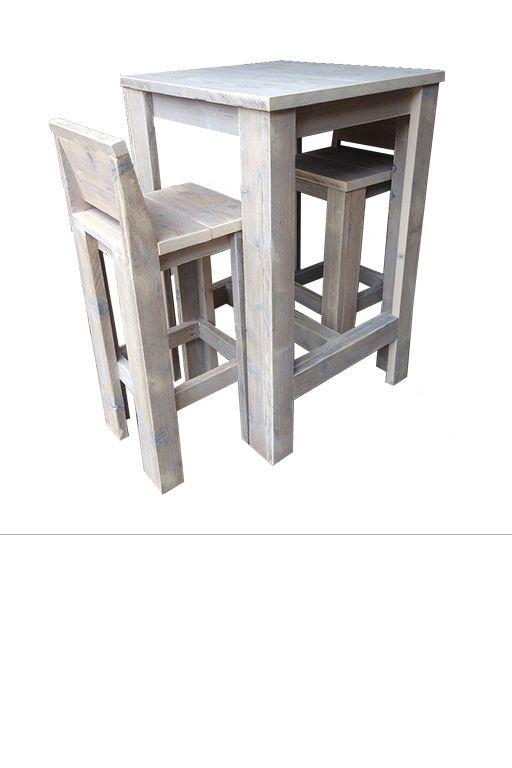 •Complete barset bestaande uit een bartafel en barkrukken vervaardigd uit gebruikt steigerhout. •Bartafel heeft de afmeting van 70 x 70 x 110. •Deze barset wordt geleverd met 2 barkrukken. •Barkrukken hebben de afmeting van 40 x 40 x 75