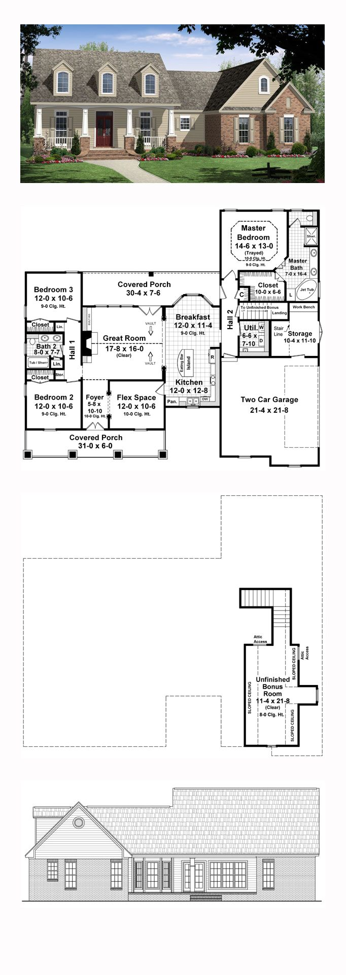 The 54 best images about craftsman house plans on for Rear access home designs