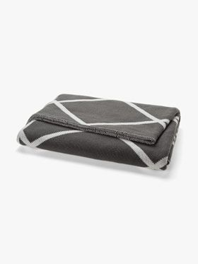 Diamond throw in Charcoal by Aura, available at Forty Winks.