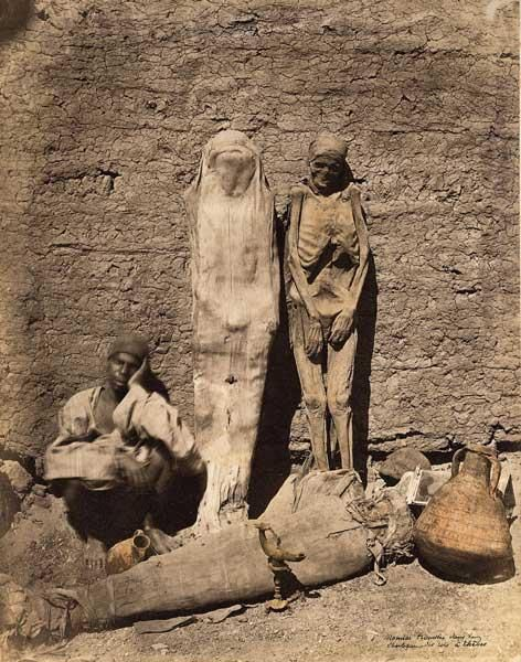 Mummies for sale, Egypt, 1870s