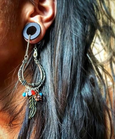 Magnetic Bloodwood Tunnels with Hippie Dangle Chains in Sizes 00g (10mm) to 1 Inch (25.5mm)/Wedding Plug Gauges, Dangle Gages for Stretched Ears