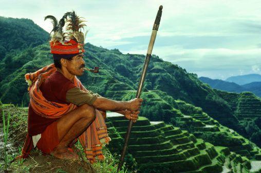 Stock Photo : Ifugao warrior, rice terraces, Banaue, Luzon Island Philippines, Asia