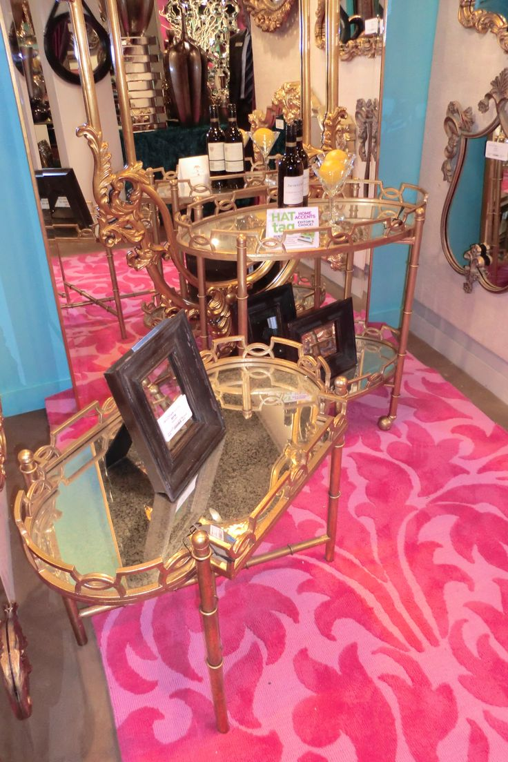 108 best tradeshows images on pinterest las vegas mirrors and a moroccan inspired pattern and antiqued mirrored top highlight this bar cart and accent table pair from pulling elliott high point market spring 2014 geotapseo Image collections