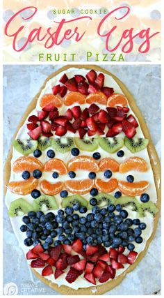 Sugar Cookie Easter Egg Fruit Pizza | Easy to make Easter treat. Cream Cheese fr…