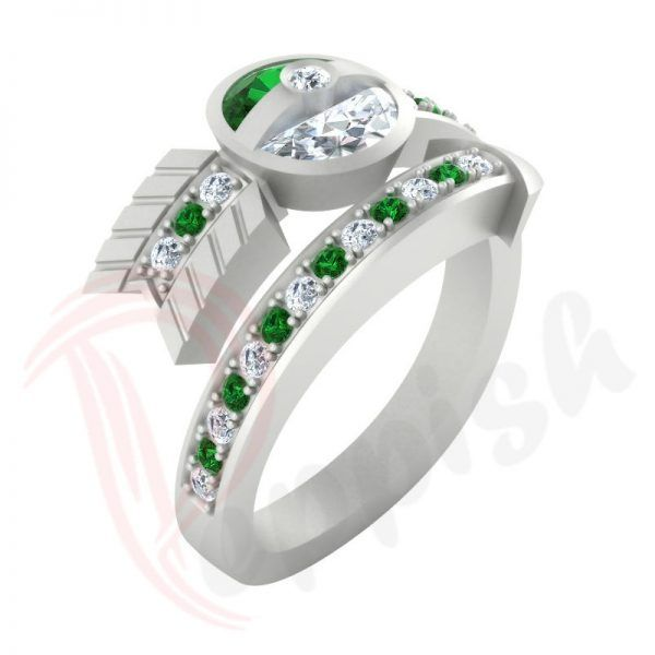 Pokemon Style Pokeball Diamond Rings For Sale In Green White Cubic Zirconia 925 Sterling Silver Metal