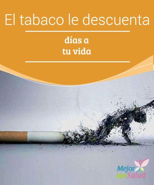 El tabaco le descuenta días a tu vida Puede ser que cuando comenzamos a fumar no lo notáramos, pero el tabaco perjudica gravemente nuestra salud cardiovascular y pulmonar e incluso puede afectar al aparato digestivo