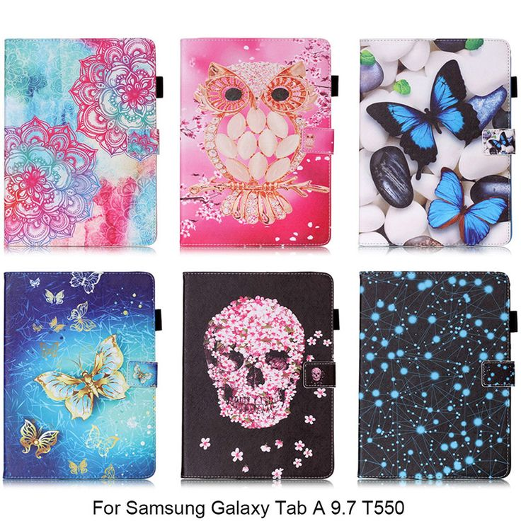 For Samsung Galaxy Tab A 9.7 T550 T551 T555 Case Owl Mandala Skull Flower Pattern PU Leather Tablet Cover with Stylus Holder #Affiliate