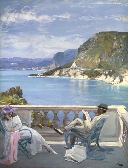 """On the Riviera"" by Sir John Lavery , Illusions Gallery Fine Art Prints on Canvas"