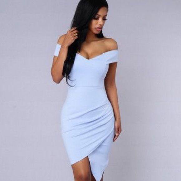Baby Blue Periwinkle Off Shoulder Bardot Dress No Label