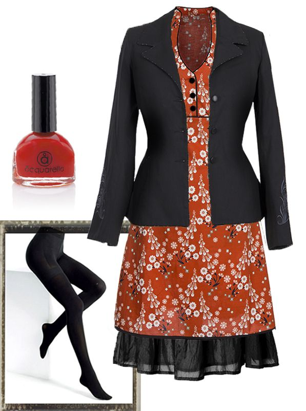 "Ecouture's welcoming spring, although it is still rather chilly! This outfit is our idea of a nice but warm summer/spring look:  Our new Chilli Red ""Jobi"" dress with a silk skirt + the Black ""Spring"" jacket. Recycled stockings and Aquarella - water-based nail polish.  Go to the webshop"