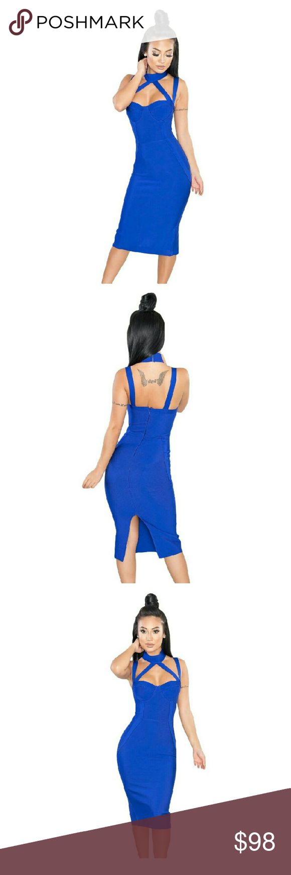 Camille Goddess Blue Bandage Dress Camille Goddess Blue Bandage Dress   This is the Goddess holiday party dress that everyone will be jealous of. It's up to you to share where you bought it. Plz comment if you'd like this in your size. This dress was sampled for the store and is ready to ship.   Large will fit a size 6/8 body frame  Length: Approx 83cm   Made with 100% Authentic Bandage Material  The Fabric of Celebrities : 90% Rayon 9% Nylon 1% Spandex. The form is supported by bust cups…