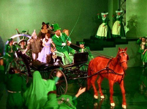 Seriously. Jell-O crystals were stuck over all the multiple Emerald City horses playing the Horse-of-a-Different-Color to give them their color. But the scenes were shot quickly, because the horses started to lick them off.
