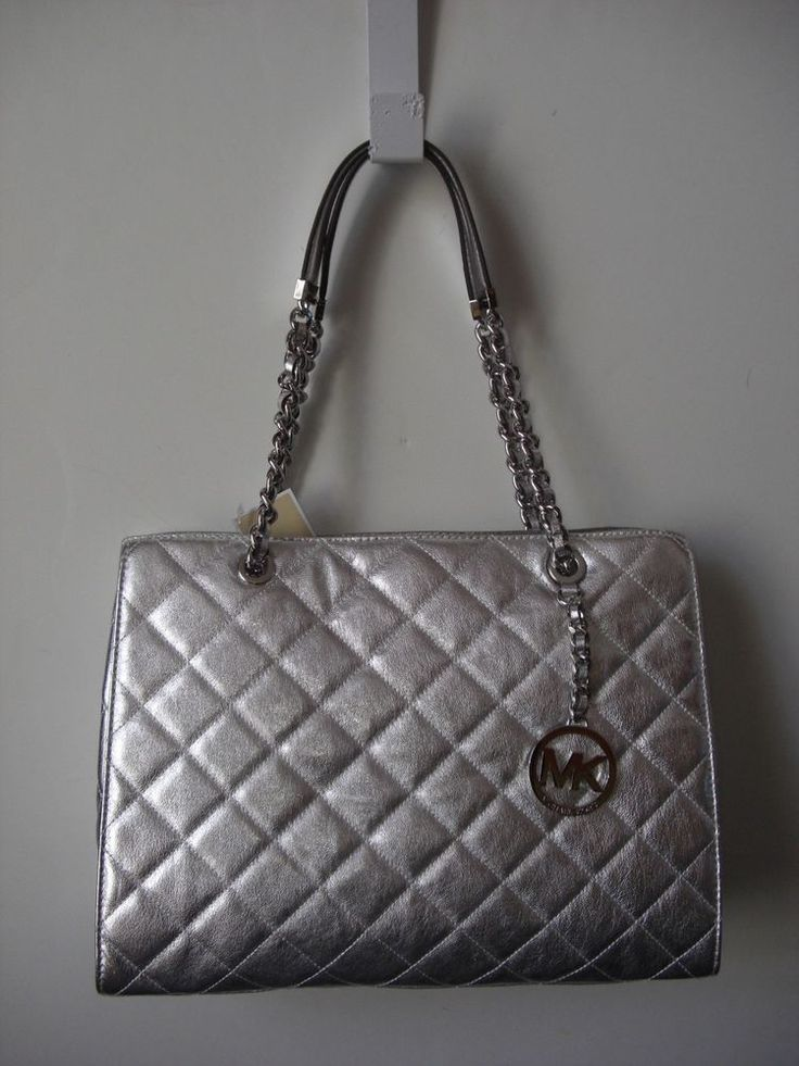 Michael Kors Susannah Large Quilted Leather Silver