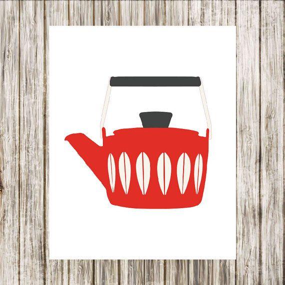 Scandinavian Enamelware  Cathrineholm Red Kettle by paper4download