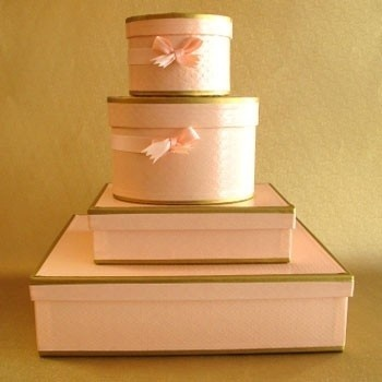 pink gold storage boxes