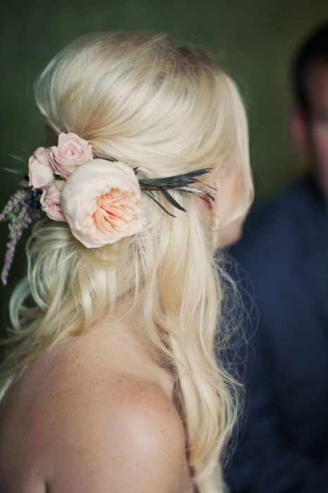 Gorgeous loose beehive wedding hair with blush pink florals. Gorgeous and on trend.