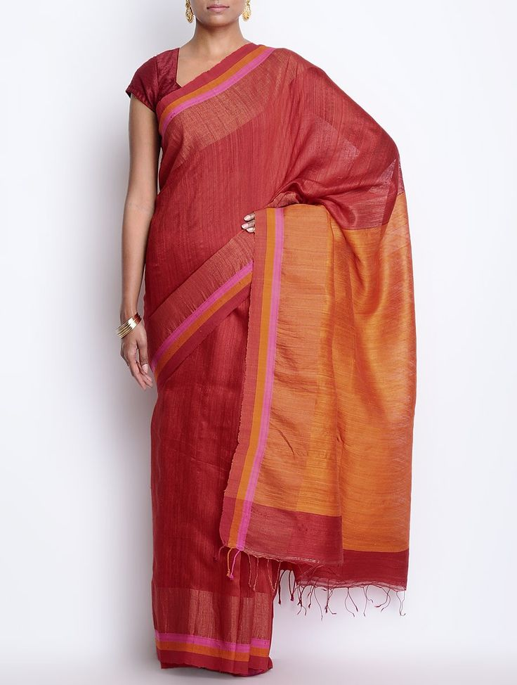 Buy Orange Red Cotton Silk Zari Border Handwoven Saree Sarees Woven Online at Jaypore.com