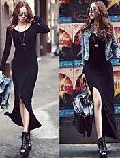 Sexy Back Side spacco nero maxi vestito delle donne