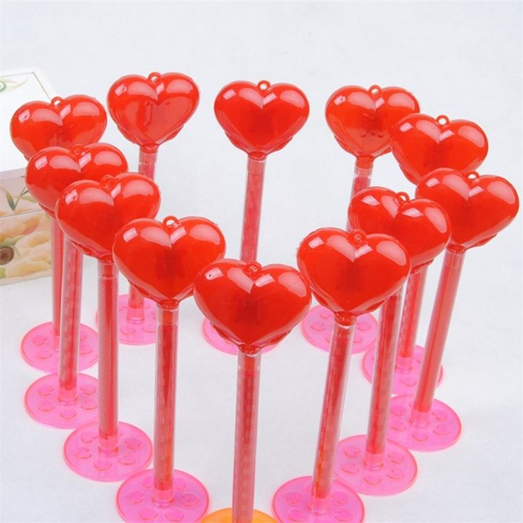 romantic cute red plastic heart shaped blinking light fairy led stick