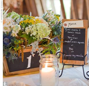 Chalkboard Centerpieces and Menus