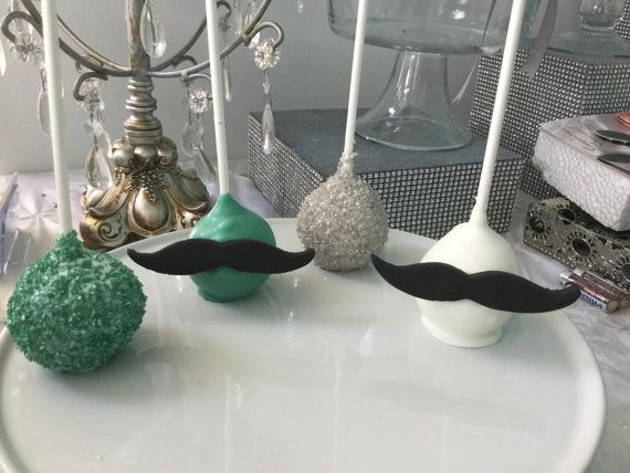 Turquoise and White Mustache Cake Pops