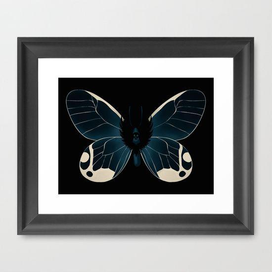 Dark Moth Framed #Art Print by Helle Gade - $31.00 #Soceity6 #art