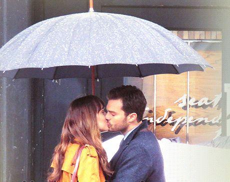 Fifty Shades Darker Jamie Dornan and Dakota Johnson the kiss. In Vancouver