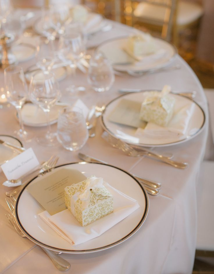 Traditional wedding place settings with menus and gifts (Clane Gessel Photography)